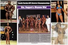 American Body Plus magazine, July/August 2010 issue, featuring NAB stage photos of 2010 South Florida NPC District Championships bodybuilding and figure contestants.
